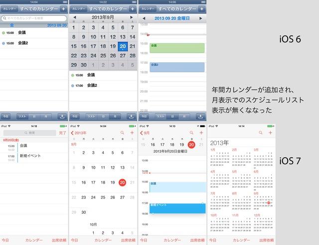 iOS7では年間カレンダーが新たに追加