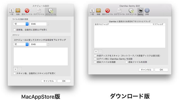 MacAppStore版とダウンロード版のClamXav-Sentry