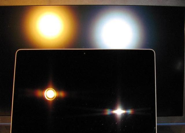 左の光の輪(電球)/右の光の輪(カメラのフラッシュ)