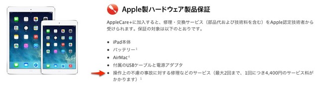 AppleCare+のハードウェア製品保証