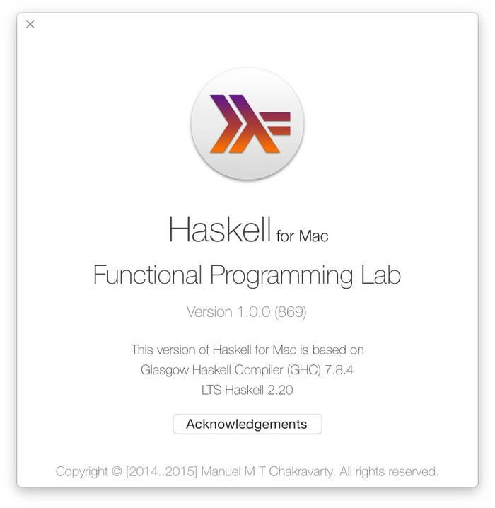 Haskell-for-Mac-About
