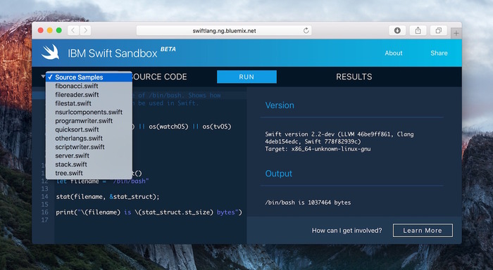 IBM-Swift-Sandbox-Beta-Sample