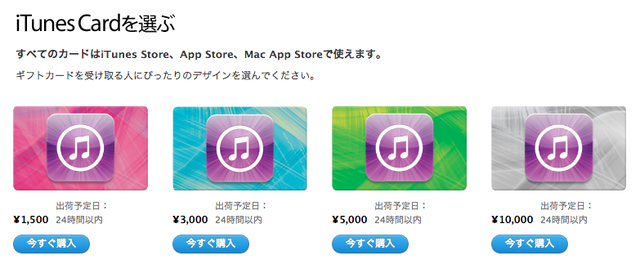iTunesカードの価格一覧