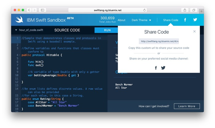 IBM-Swift-Sandbox-Share-Code-Hero