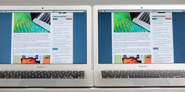MacBook Air 13インチ2012のLGとSamsung Displayの比較