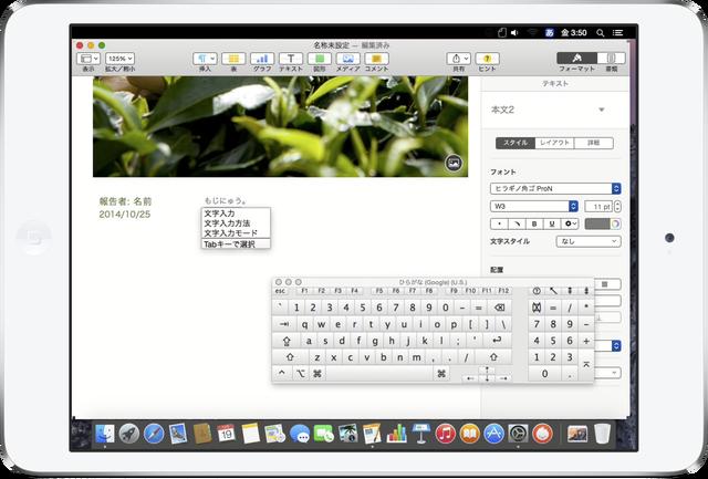 iPad-miniでMacのキーパッド入力