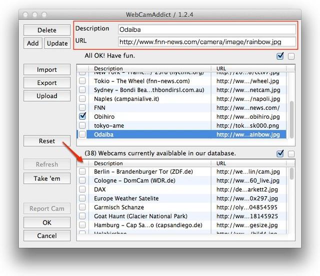 WebCamAddict Preferences
