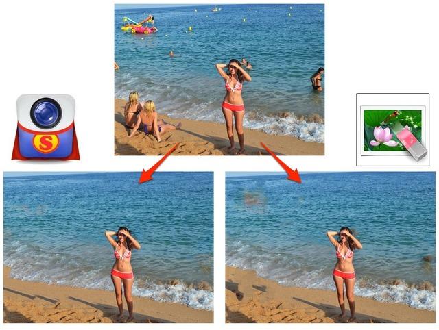 SnaphealとPhoto Eraserで同じ写真を修正