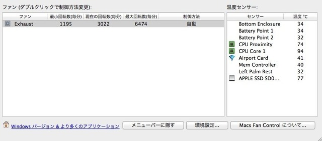 MacBook Air Mid 2013のSanDisk SSDの温度