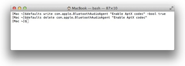 MacBookでapt-Xプロトコルを無効化
