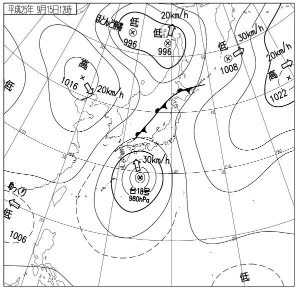 2013年9月15日の天気図