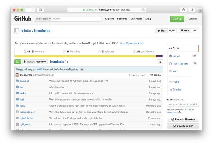 Adobe-Brackets-GitHub