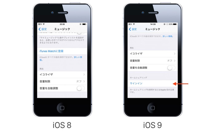 iOS8-vs-iOS9-Home-Sharing