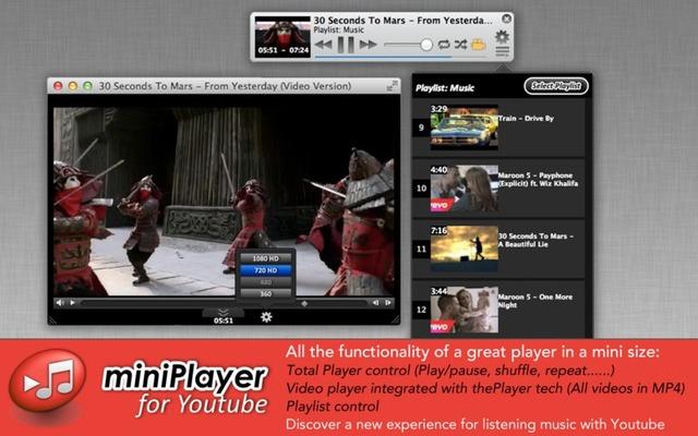 Miniplayer for YouTubeはMacのYouTubeクライアントです
