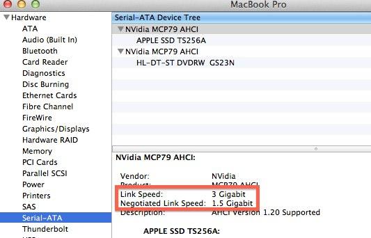 MacBookSSDリンク速度とネゴシエート速度