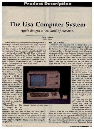 Lisaプレビュー記事Byte誌1983年2月