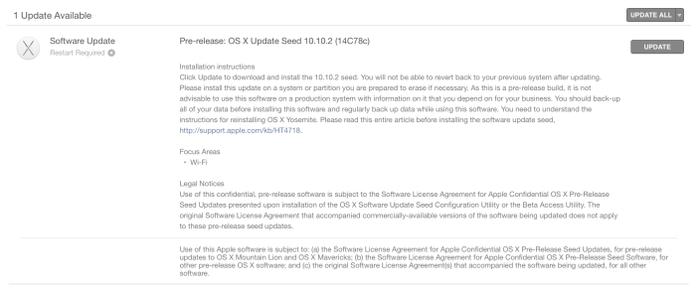 OS X Yosemite 10.10.2 (14C78c)