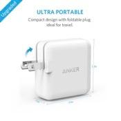 Anker PowerPort 2 (24W 2ポート USB急速充電器 折畳式プラグ搭載) iPhone 6s / 6 / 6 Plus、iPad Pro、iPad Air 2 / mini 3、 Galaxy S6 / S6 Edge / Edge+ 他対応 【PowerIQ & VoltageBoost搭載】(ホワイト)