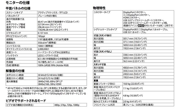 Dell-UP2414Q-モニター仕様2