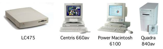 LC475、Centris 660av、PowerMac 6100、Quadra 840av