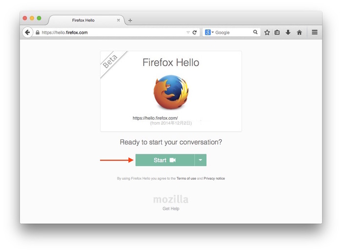 Firefox-Hello-Start