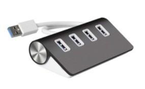 Cateck® USB 3.0 プレミアムアルミニウム 4 ポート USB ハブ:11 インチシールドケーブル(iMac、MacBook Air、MacBook Pro、MacBook、Mac Mini、PC、ラップトップ用) - ブラック
