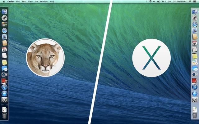 OS X MountainLionとMavericksのDockの違い
