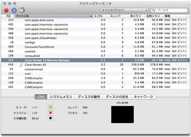 Painter X3 for Macはネイティブ64bit非サポート
