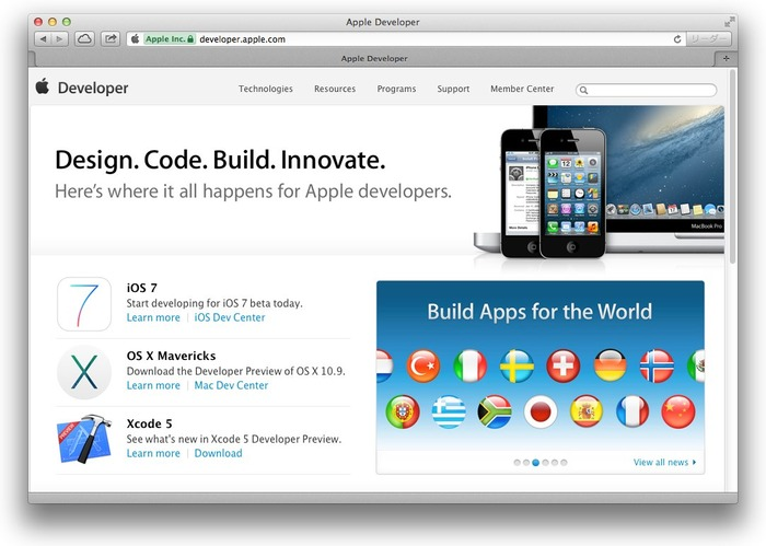 Apple Developer Site Hero
