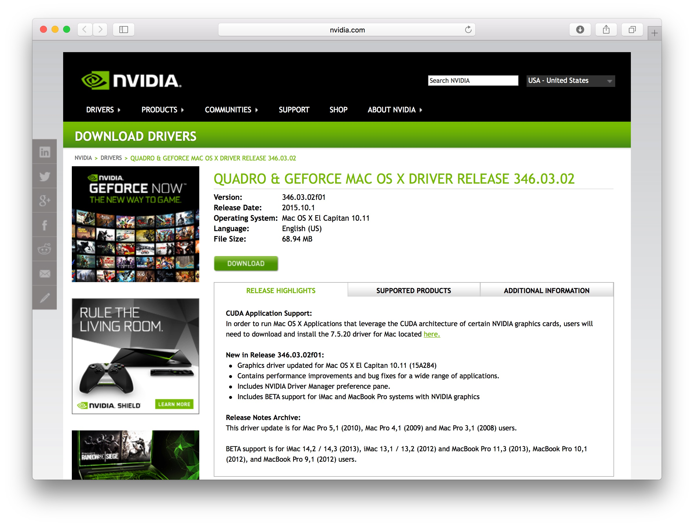 NVIDIA、OS X 10 11 El CapitanをサポートしたQuadro&GeForce GPU用 Web
