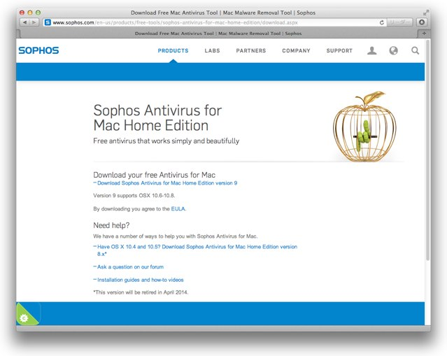 Sophos Antivirus for Mac Home EditionダウンロードサイトUS