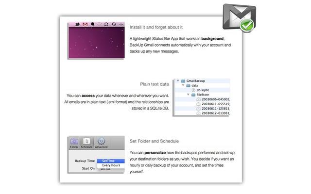 BackUp GmailはGmailのデータを全てダウンロードしローカルに保存できるアプリです