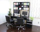 パソコンデスク ブラック鏡面 140cm幅 大型上置書棚付き システムデスク3点セット JS135BK