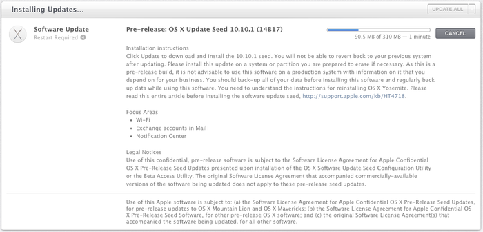 Pre-release: OS X Update Seed 10.10.1 (14B17)
