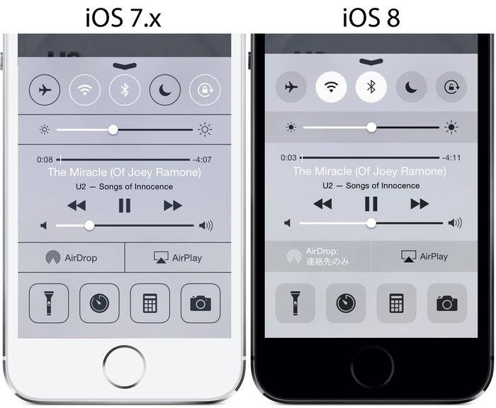 iOS7-iOS8-コントロールセンター