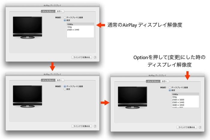 AirPlay ディスプレイの解像度をOptionを押して増やす