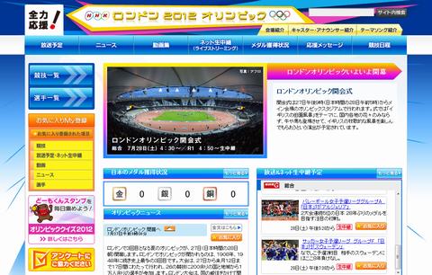 NHK ロンドン 2012 オリンピック トップページ