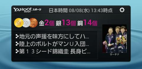 Yahoo!スポーツ メダル速報ウィジェット