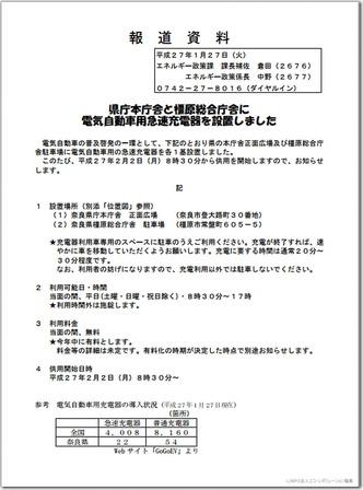 奈良県庁本庁舎急速充電器案内