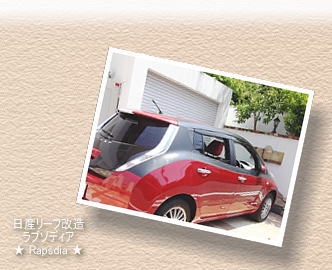 リーフ改造ラプソディアbg画像@急速充電近畿道東大阪PA下り/リーフ改造