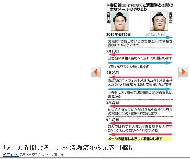 """□""""大相撲:八百長メール""""を考える! : livedoor Blog ケンイチ ..."""