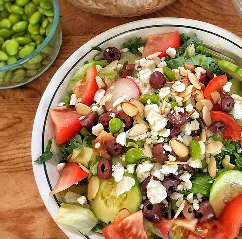 kale, edamame salad