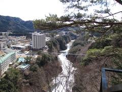 楯岩展望台から大吊橋を見下ろす