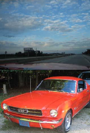 Mustangと晩秋の空