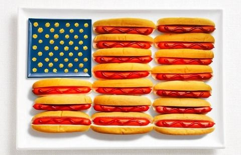 食べ物で表現されたアメリカ国旗