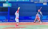 上野投手ラストバッターに投球