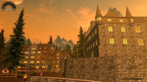 塀に囲まれた街の夕焼け