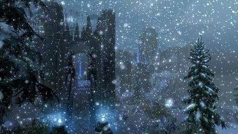吹雪に霞む大学