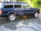 磨き前洗車中