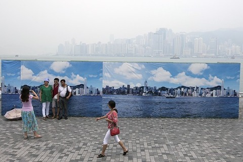 大気汚染でも記念写真